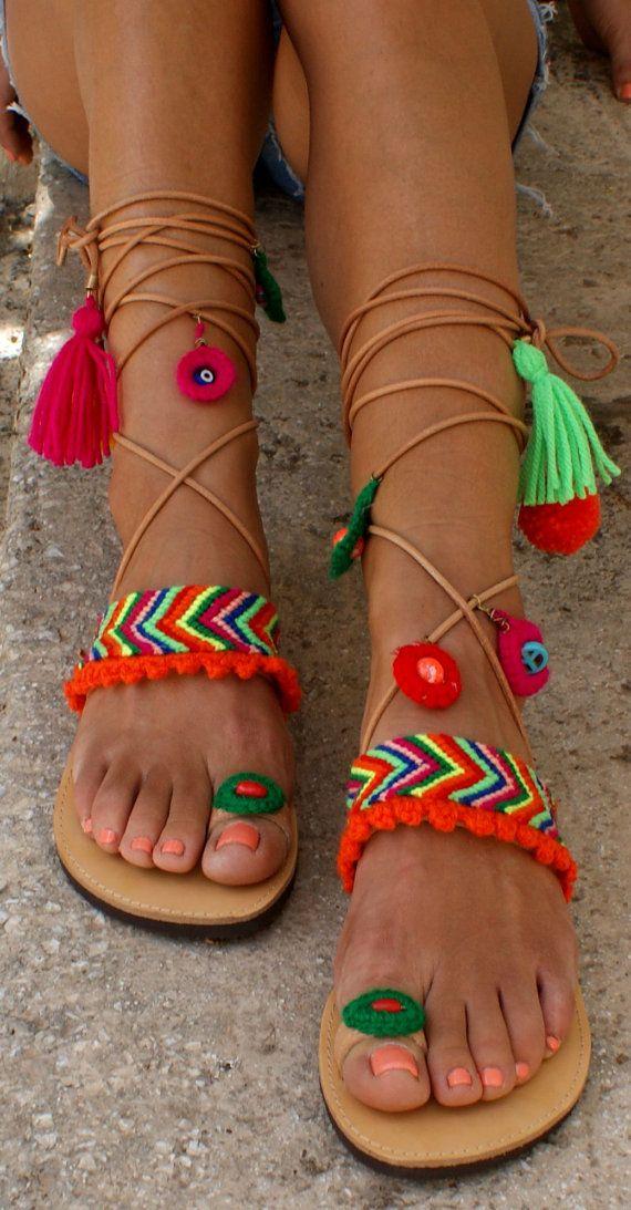 Gladiator sandals Boho sandals Pom pom sandals by
