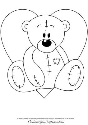 Stitched Teddy Bear & Heart Digital Stamp / Glass Painting