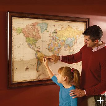 World Magnetic Travel Map Us Or Office ART WATERCOLORS - Magnetic us wall map