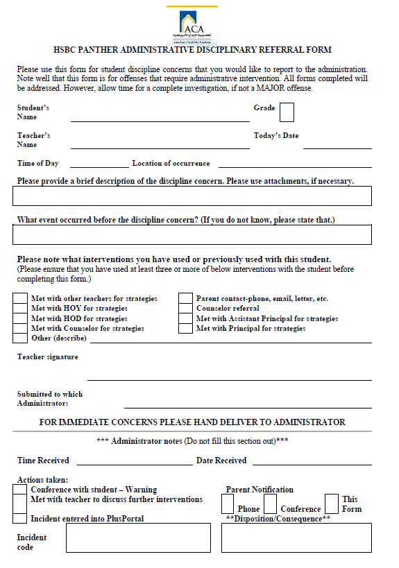 This Is The SchoolS AdminParent Referral Form  Classroom