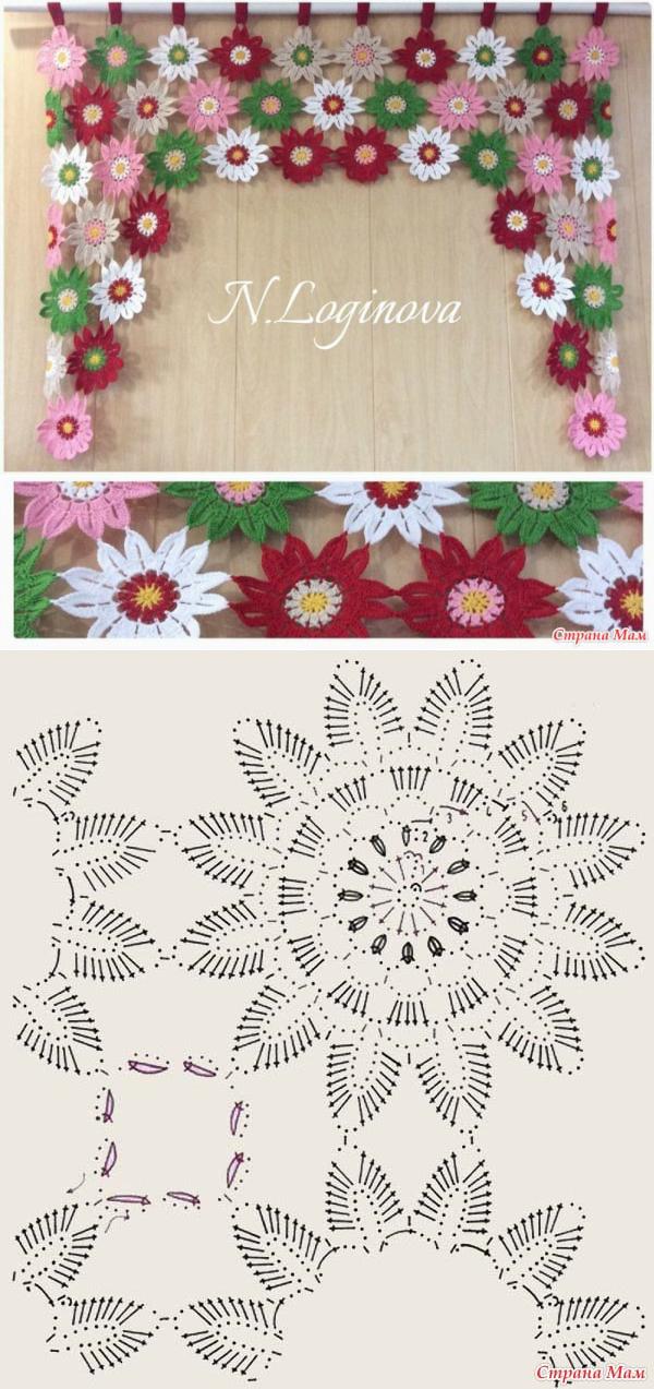 Crochet flower window ornament | puntos ganchillo y patrones ...