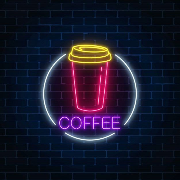 Neon Glowing Sign Of Coffee Cup In Circle Frame On A Dark Brick Wall | Cool neon signs, Neon ...