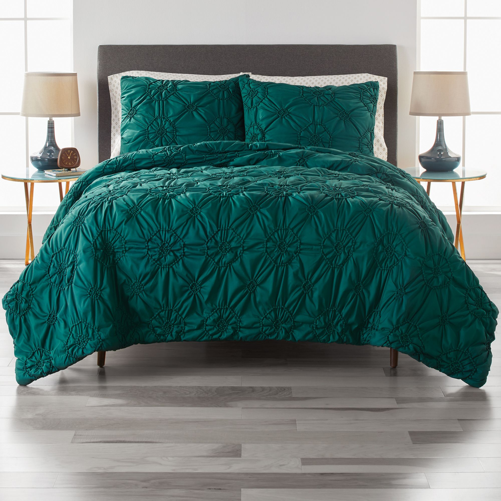 Free 2 Day Shipping Buy Better Homes And Gardens Elastic Pintuck 3 Piece Dark Green Comforter Set In 2020 Green Comforter Sets Green Comforter Bedroom Green Comforter