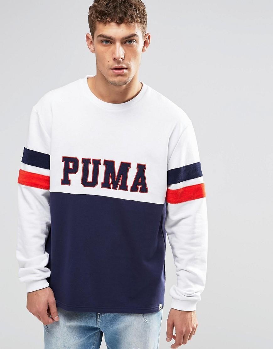 Asos Puma Puma Vintage Look Crew Neck Sweatshirt White Adorewe Com Erkek Sweatshirt [ 1110 x 870 Pixel ]