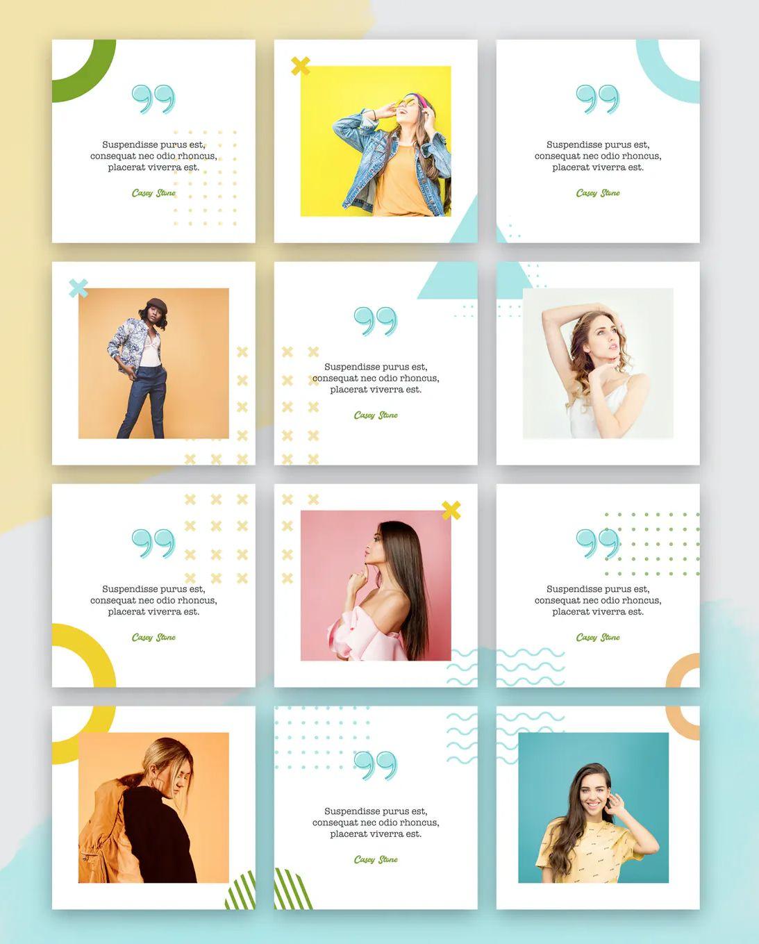 Fashion Instagram Puzzle Templates Psd In 2020 Social Media Design Graphics Instagram Template Design Instagram Design Layout