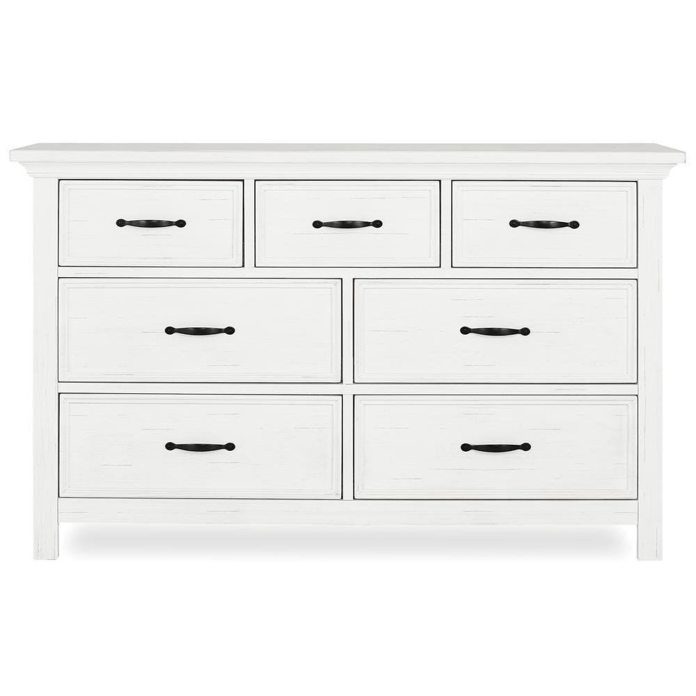 Evolur Belmar 7 Drawer Weathered White Dresser 885 Ww The Home Depot Double Dresser White Dresser Weathered White [ 1000 x 1000 Pixel ]