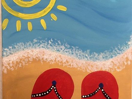 Flip Flop Paintings On Canvas Google Search Painting Kids Painting Party Simple Canvas Paintings