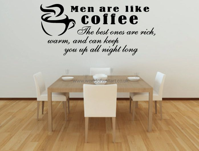 Funny Wall Art Sayings: Men Are Like Coffee. . .