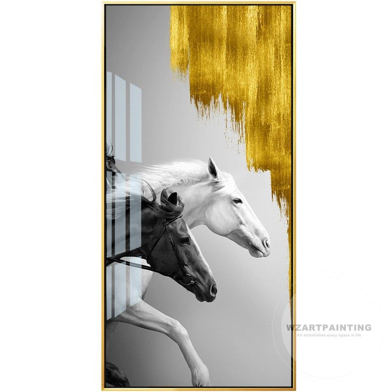 Framed Wall Art Gold White Horse Black Horse Animal Print Etsy In 2020 Abstract Canvas Wall Art Canvas Picture Frames Art