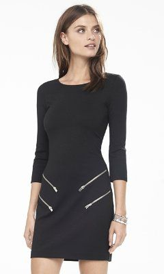 062f6537 black double zip sheath dress from EXPRESS -- love the zippers | My ...