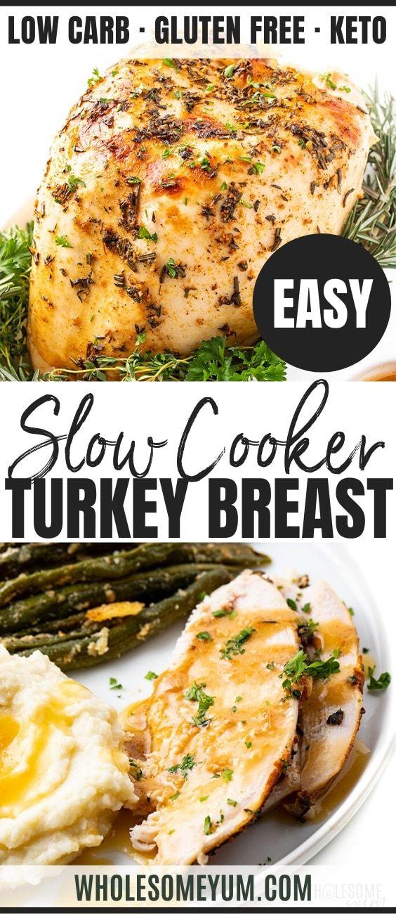 Crock Pot Slow Cooker Turkey Breast Recipe | Wholesome Yum