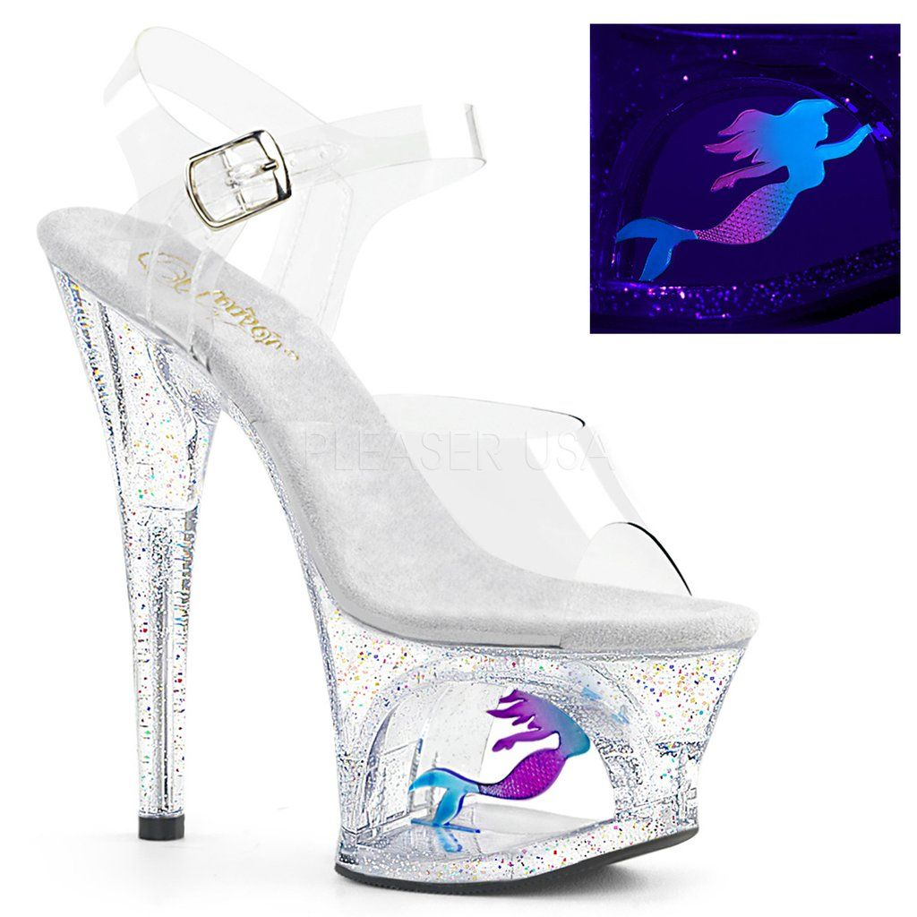 8b46406c86c MOON-708MER Pleaser Sexy Stripper Shoes Cut-Out Mermaid Glitter Platforms  Ankle Strap Sandals