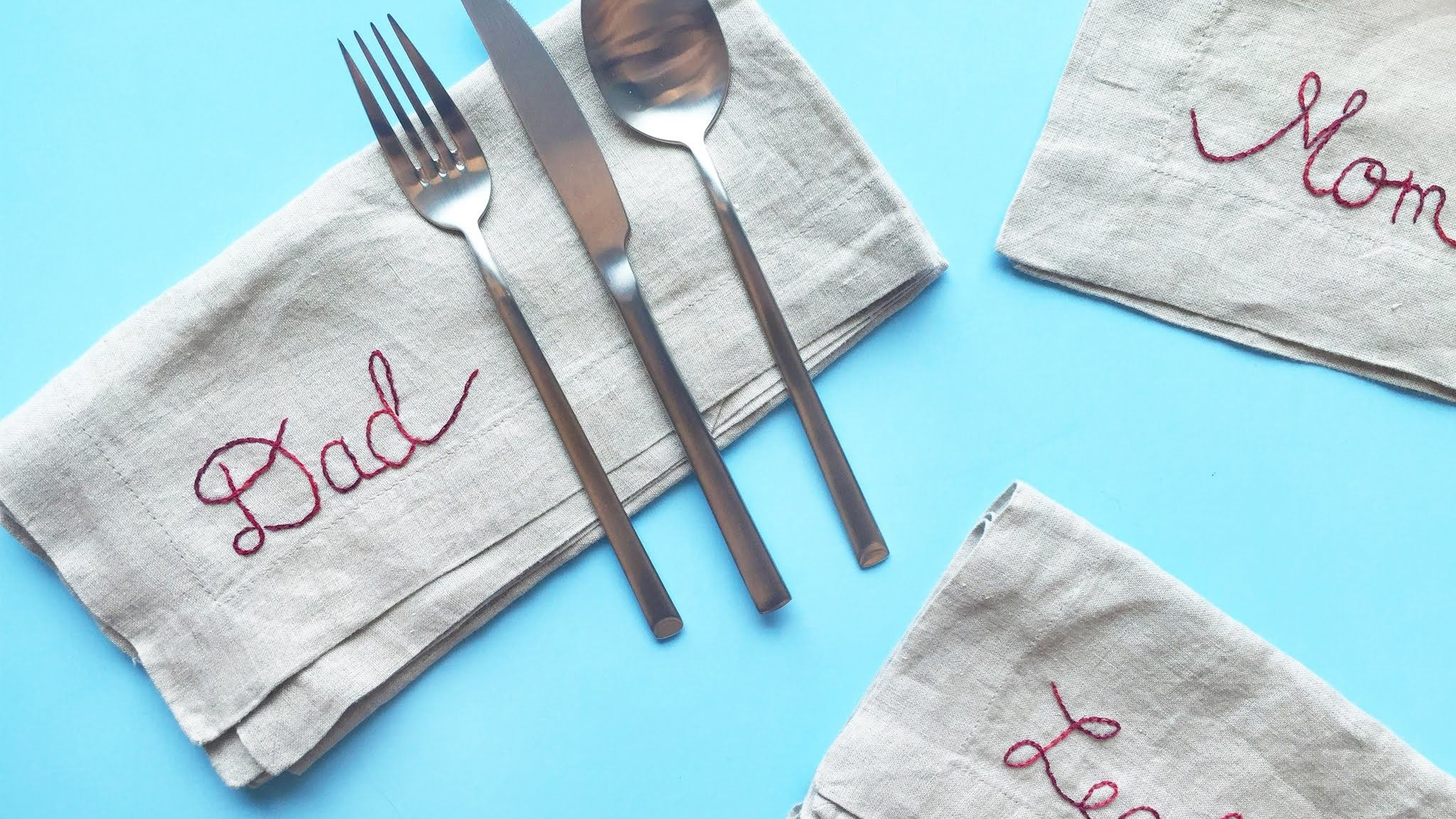 """DIY Embroidered """"Place Card"""" Napkins. Made Easy with Creative Options"""