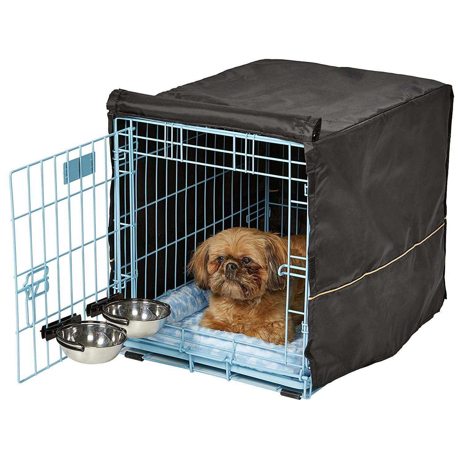 Midwest Icrate Starter Kit The Perfect Kit For Your New Dog Includes A Dog Crate Dog Crate Cover 2 Dog Bowls And Pet Be Dog Crate Basket And Crate
