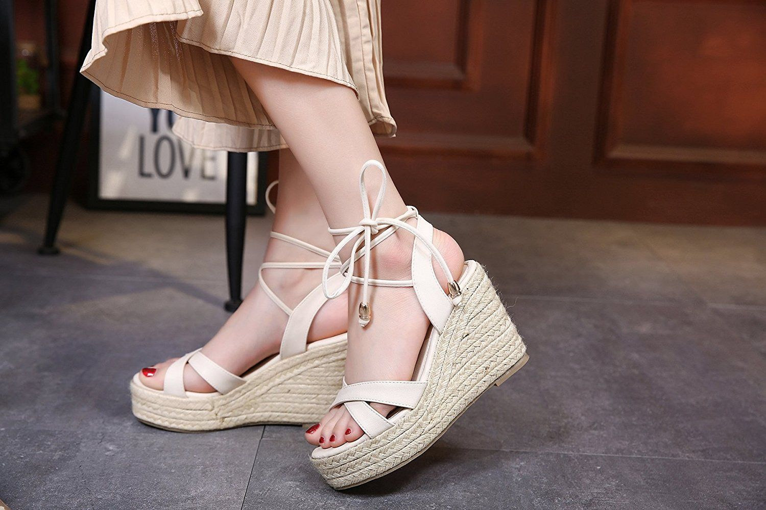 dd79e9592d MAKEGSI Womens Jute-rope Middle Wedge Heel Summer Shoes Flip Sandals Lace  Up >>> Click image to read more details. #shoes