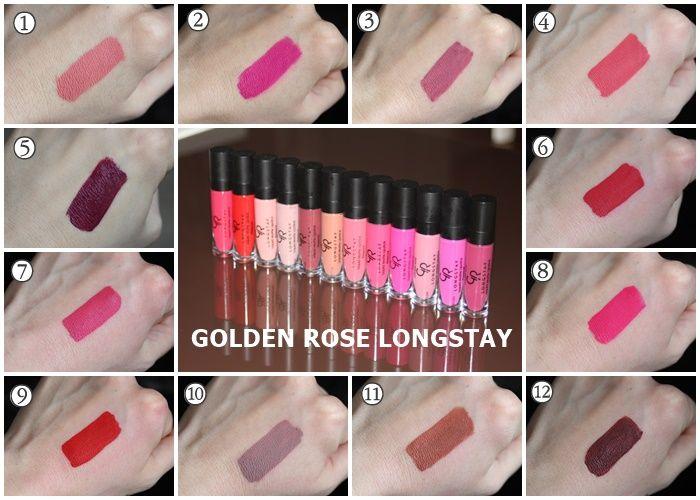 Makeup Arena Golden Rose Longstay Liquid Matte Lipstick Sve Nijanse Szminki Makijaz Uroda