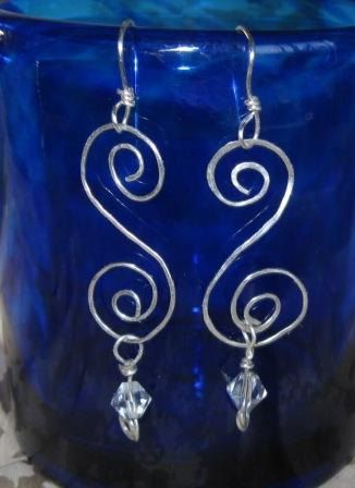 Silver Ice Dangle Spiral Earrings by MayroseTreasures on Etsy, $30.00