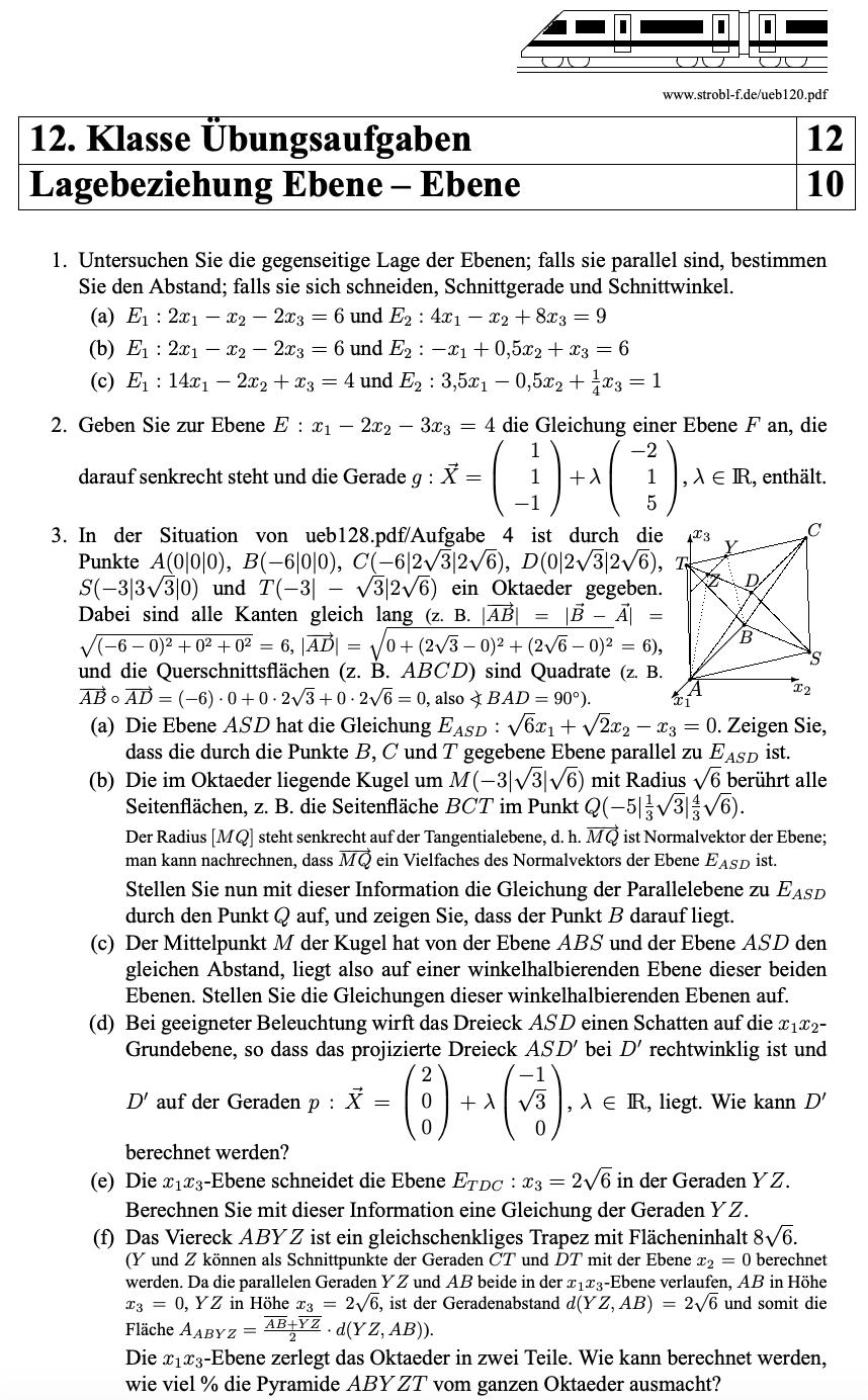 Lagebeziehung Ebene Ebene Aufgaben Mit Losungen Pdf Download Mathe Formeln Nachhilfe Mathe Mathe Abitur