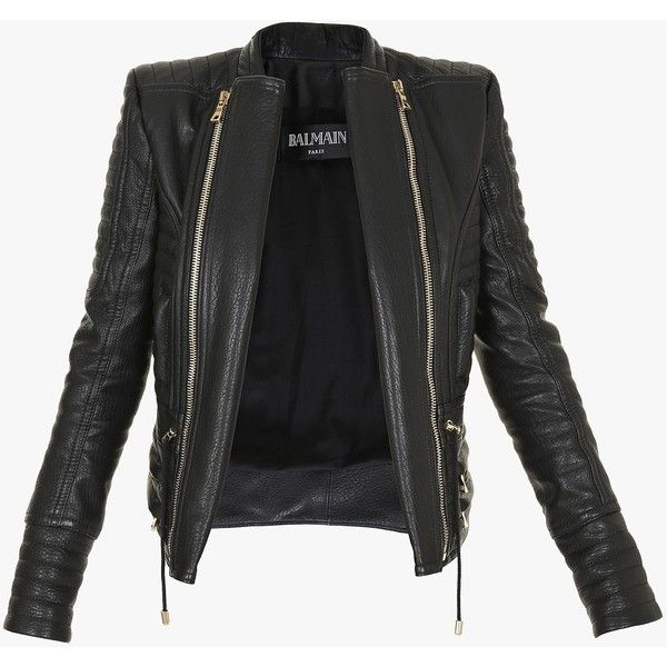 c25a45a7 Balmain Quilted leather biker jacket ($3,985) ❤ liked on Polyvore featuring  outerwear, jackets, tops, leather jackets, coats, asymmetrical zip moto  jacket, ...