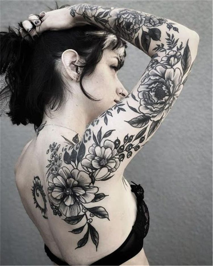 45 and stunning sleeve floral tattoo to make you