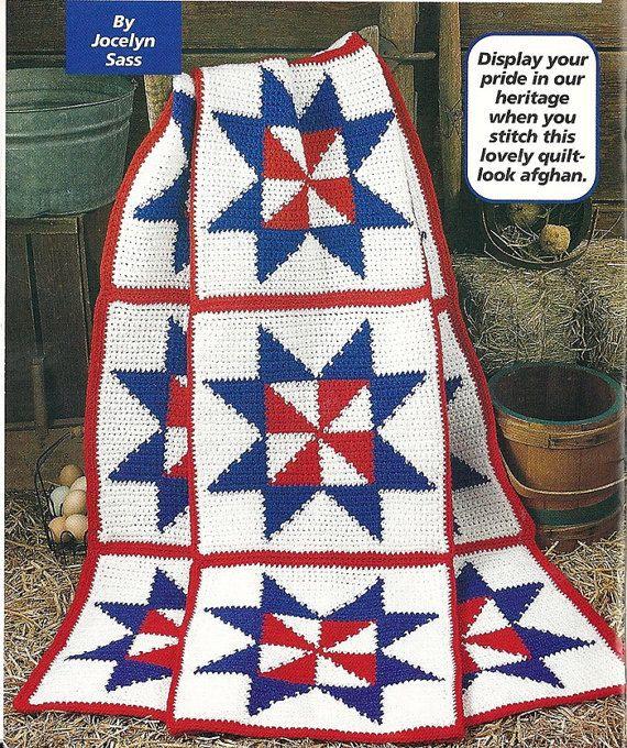 Crochet Patriotic Pinwheel Afghan Crochet Pattern Throw Blanket Home ...