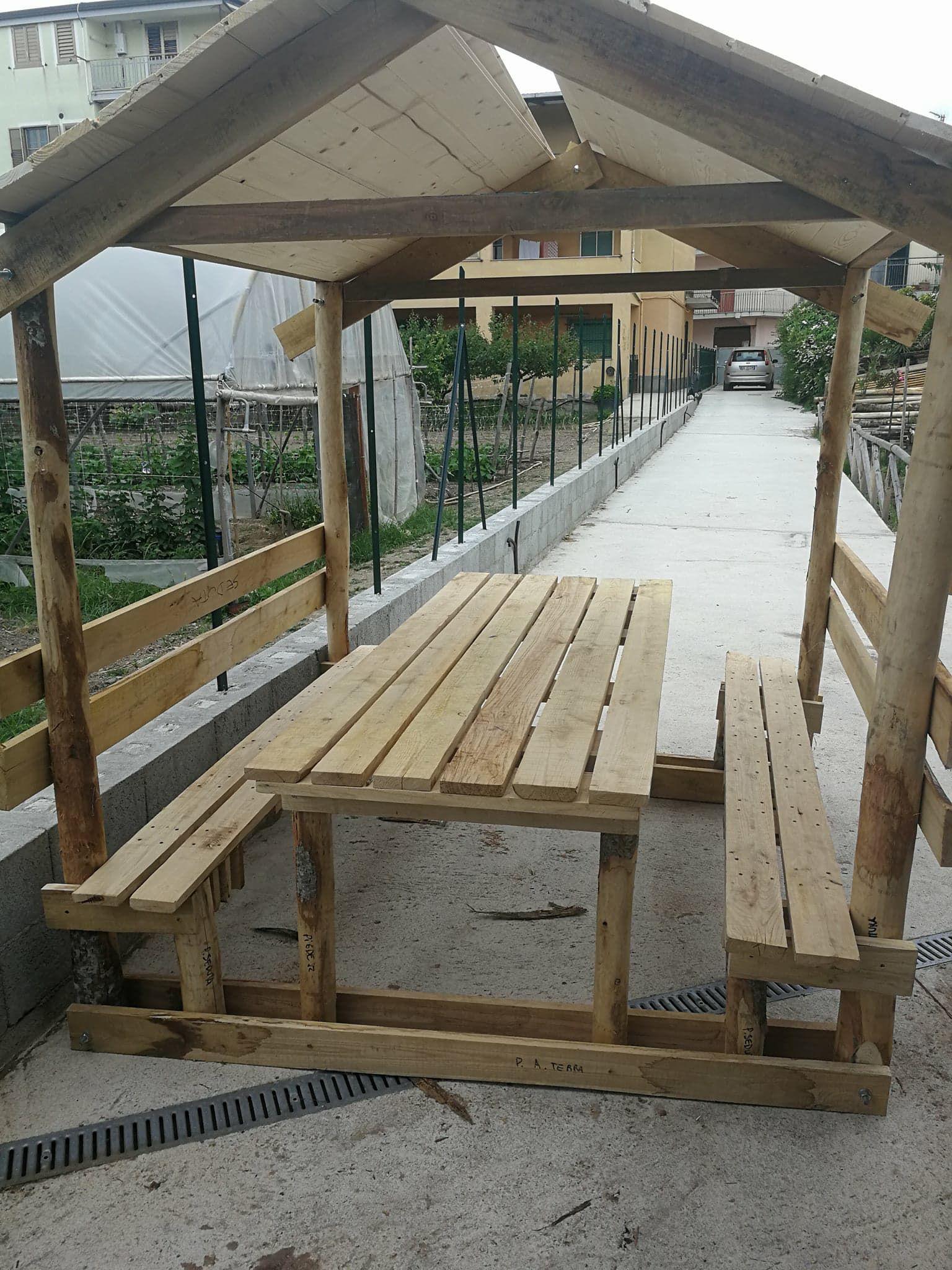Luci Per Tettoia In Legno wood art ely tavolo pic-nic con tettoia, legno massello di