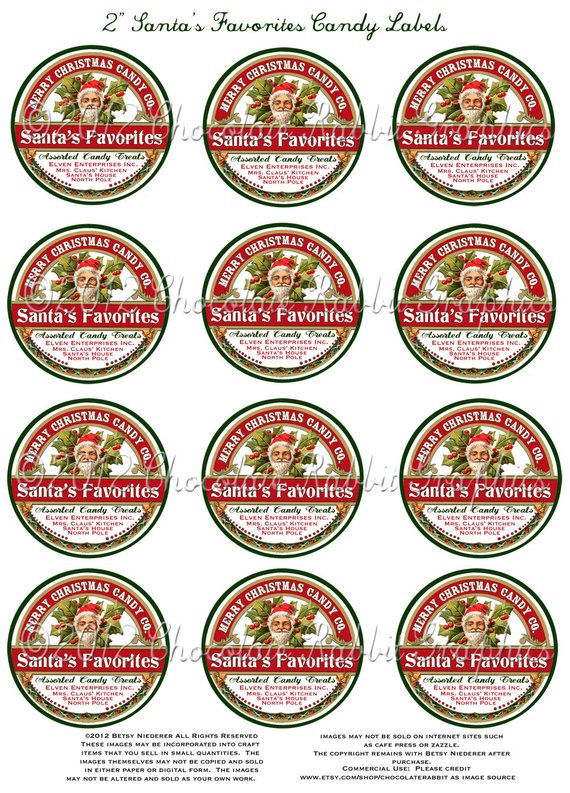 Vintage Christmas Candy Label 2 Inch Tag Digital Santa Download Collage  Sheet Printable - Tag Card S