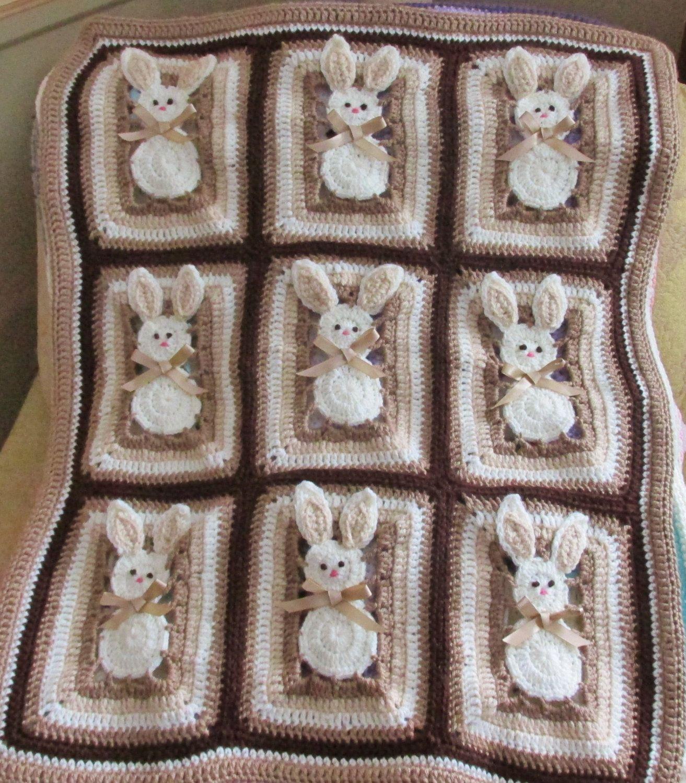 Bunny Baby Blanket Pattern Crib Stroller Bassinet Digital Pdf