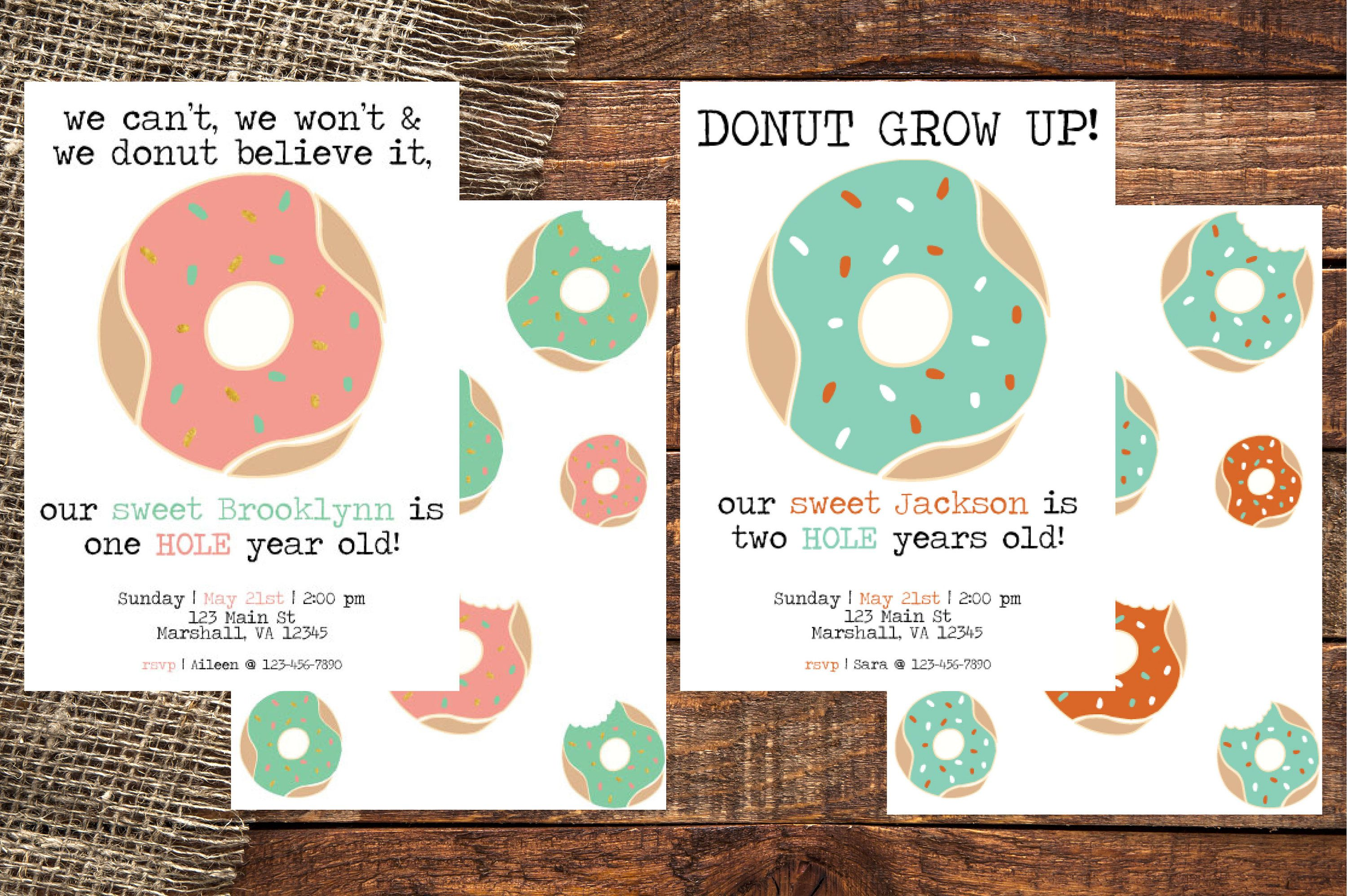 DONUT | Donut Birthday Invitation | Donut Grow Up Invitation | Donut ...