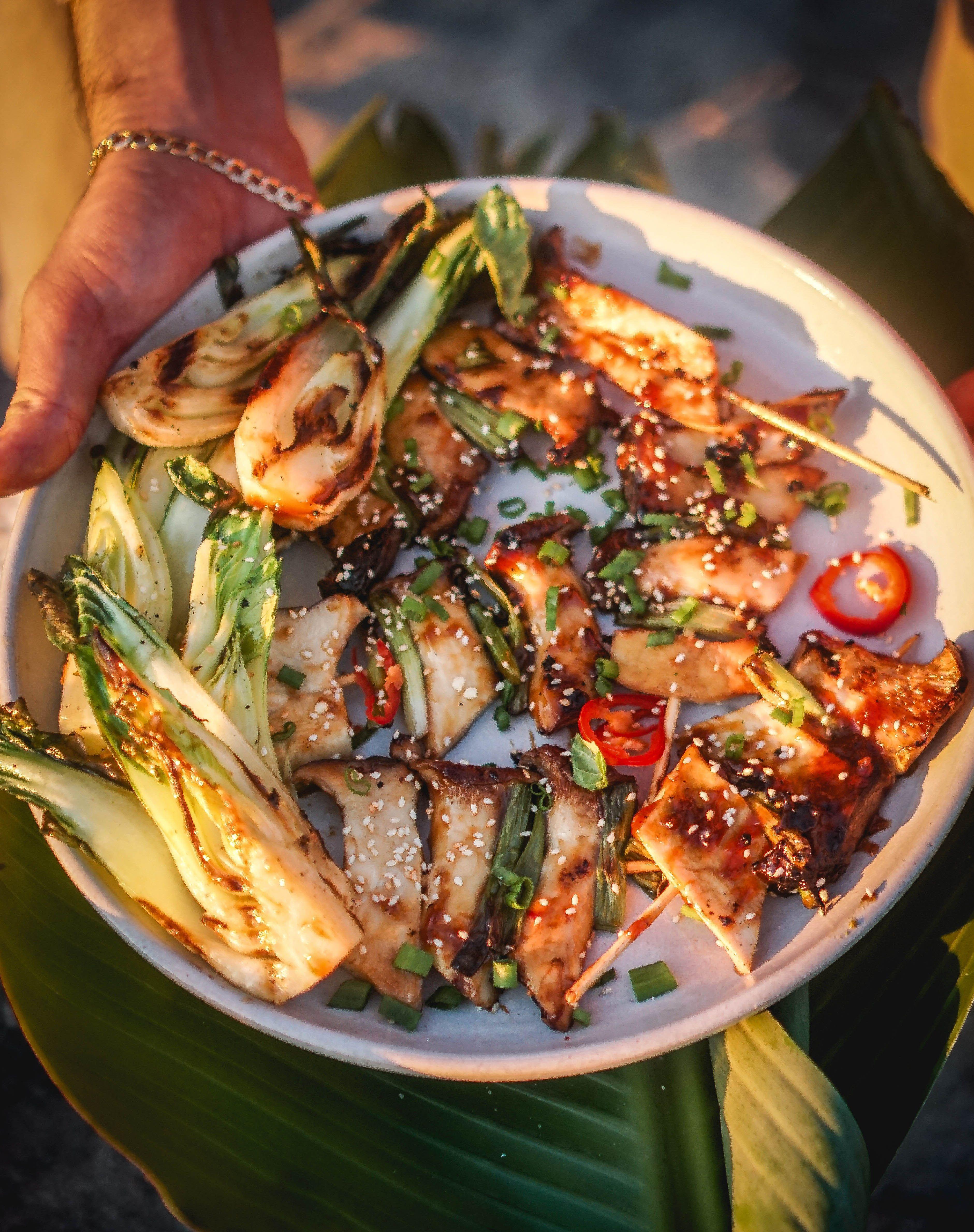 VEGAN YAKITORI. Meaty king oyster mushroom yakitori! The