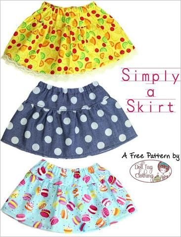 Simply A Skirt 18 Inch Doll Clothes Pattern PDF Download | Pixie Faire #dollclothes