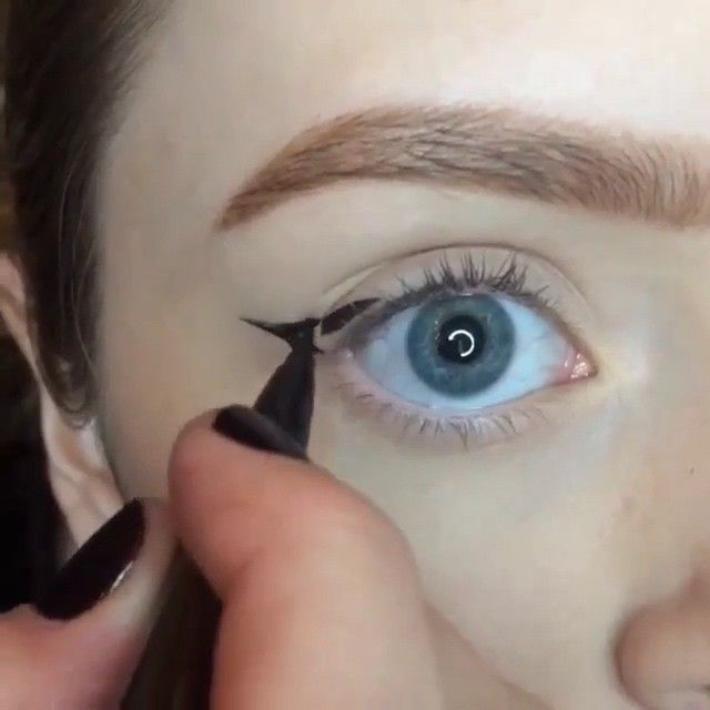 """Winged eyeliner by @CosmoByHaley Song: """"Birthday Cake"""" by. Rihanna"""