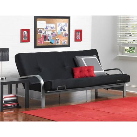 Mainstays Metal Arm Futon With Mattress Black I Want One Rests If Possible So That Can Lounge On It Like A Couch Still