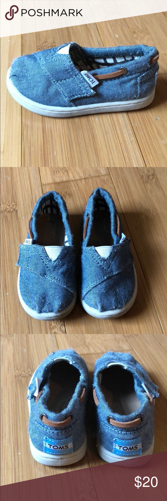 07409441716 Toddler TOMS Bimini Chambray Casual Shoe size 5 very good condition - lots  of life left