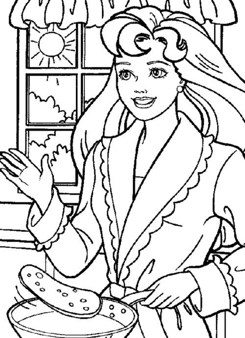 Barbie Cooking Coloring Pages