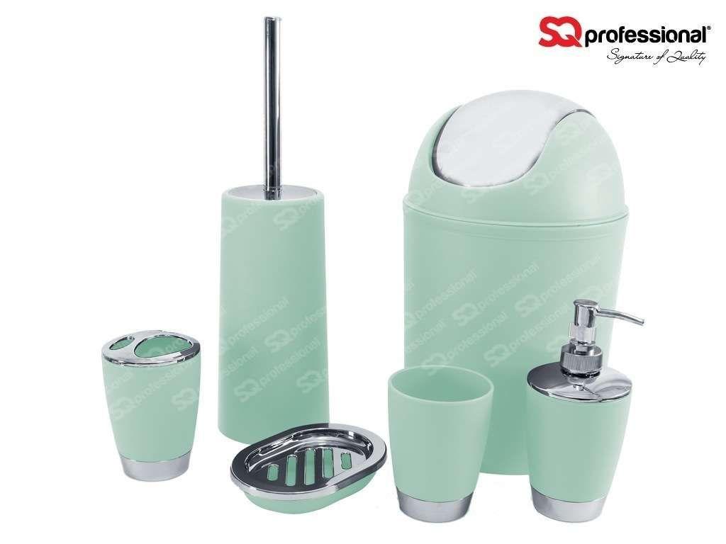 Set pour salle de bain 6pcs bleu clair distributeur de for Ensemble salle de bain porte savon