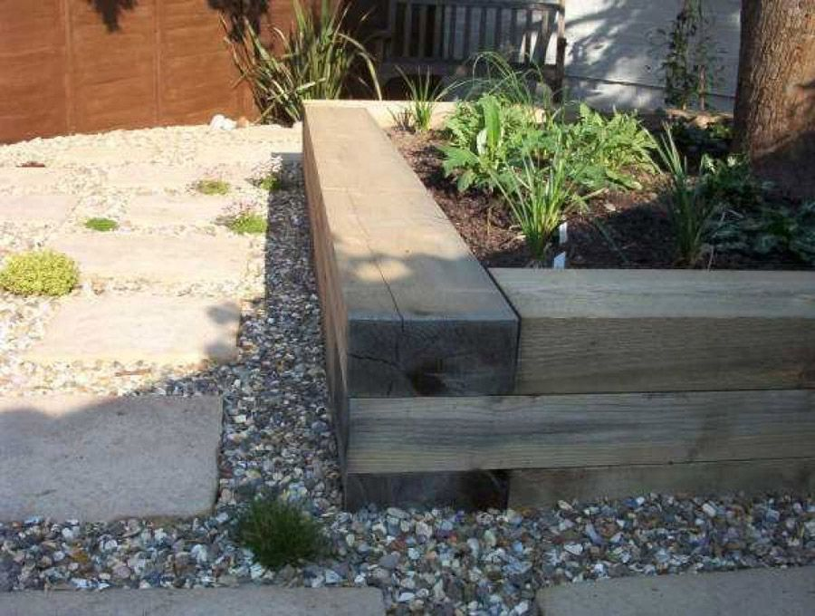 how to build a raised bed with railway sleepers - Garden Design Using Sleepers