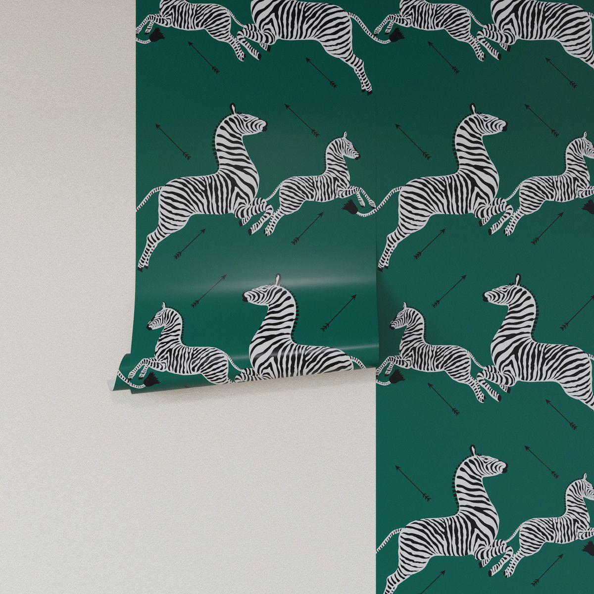 Emerald Zebra Upholstered Custom Peel And Stick Wallpaper Roll Peel And Stick Wallpaper Wallpaper Roll Zebra Wallpaper