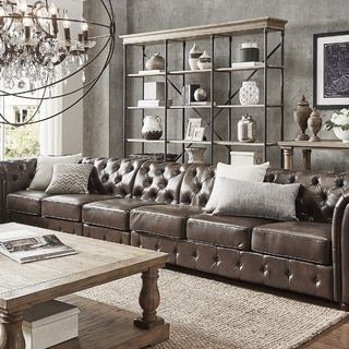 Knightsbridge Brown Bonded Leather Oversize Extra Long Modular Sectional Sofa Extension B Leather Couches Living Room Brown Living Room Decor Brown Living Room