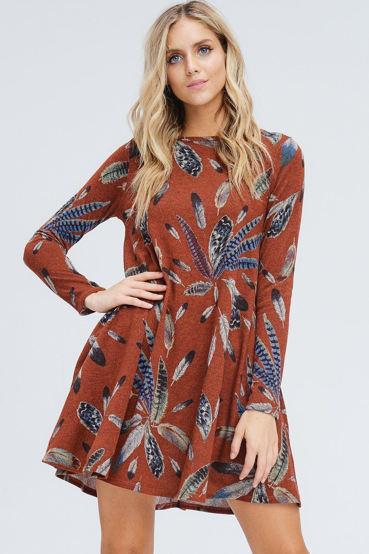Delilah feather midi dress rust gozon boutique rust
