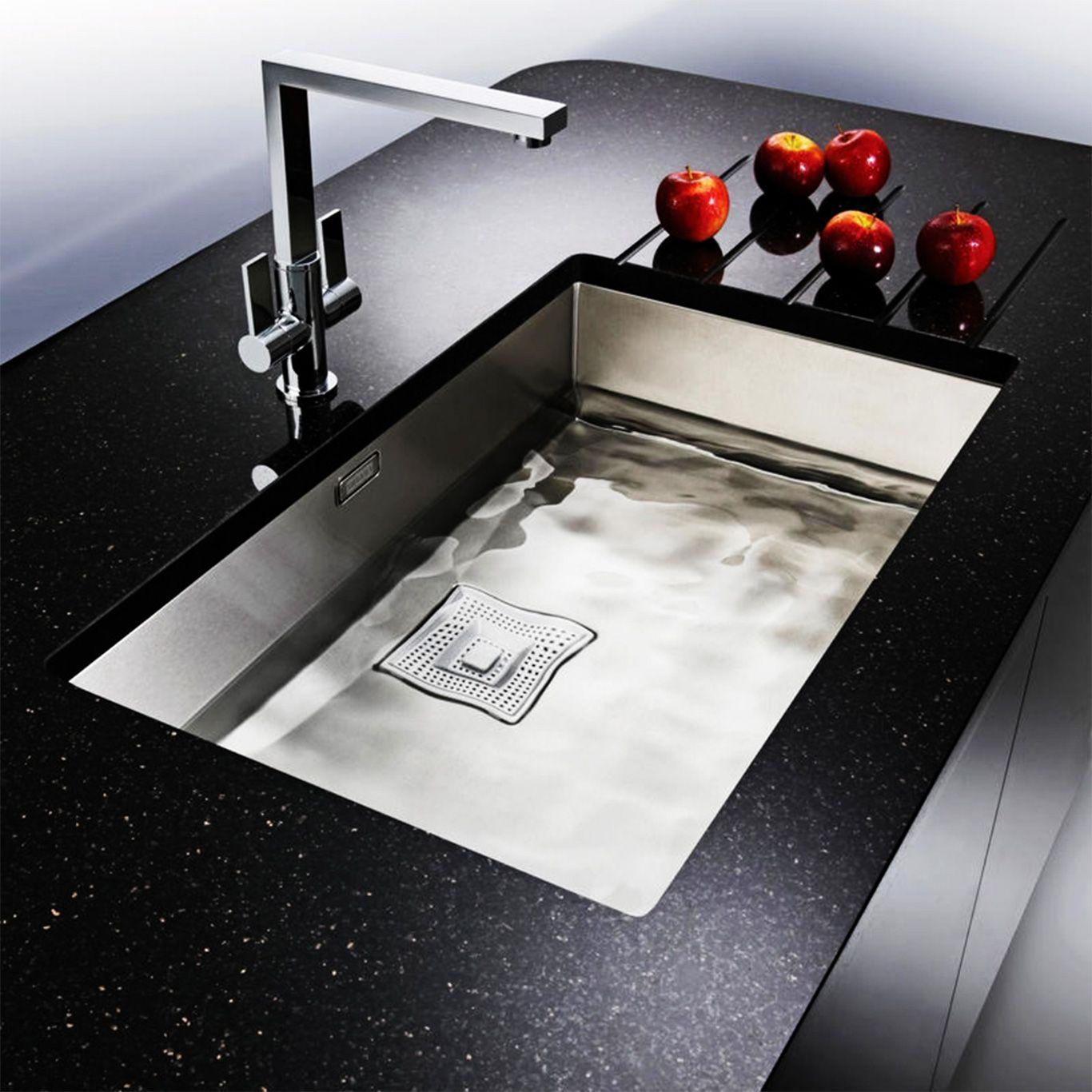 Modern Dark Countertop and Stylish Undermount Stainless Steel ...