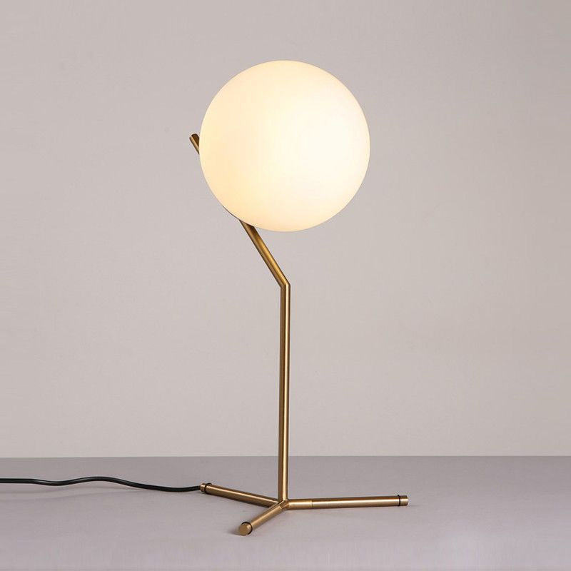 Modern White Glass Table Lamp Globe Shade Led Brass Desk Lamp Bedside Living Ebay With Images Table Lamp Gold Table Lamp Table Lamps For Bedroom