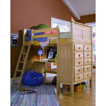 Best Kenai Loft Bed With Study Desk Costco Birch Finish 640 x 480