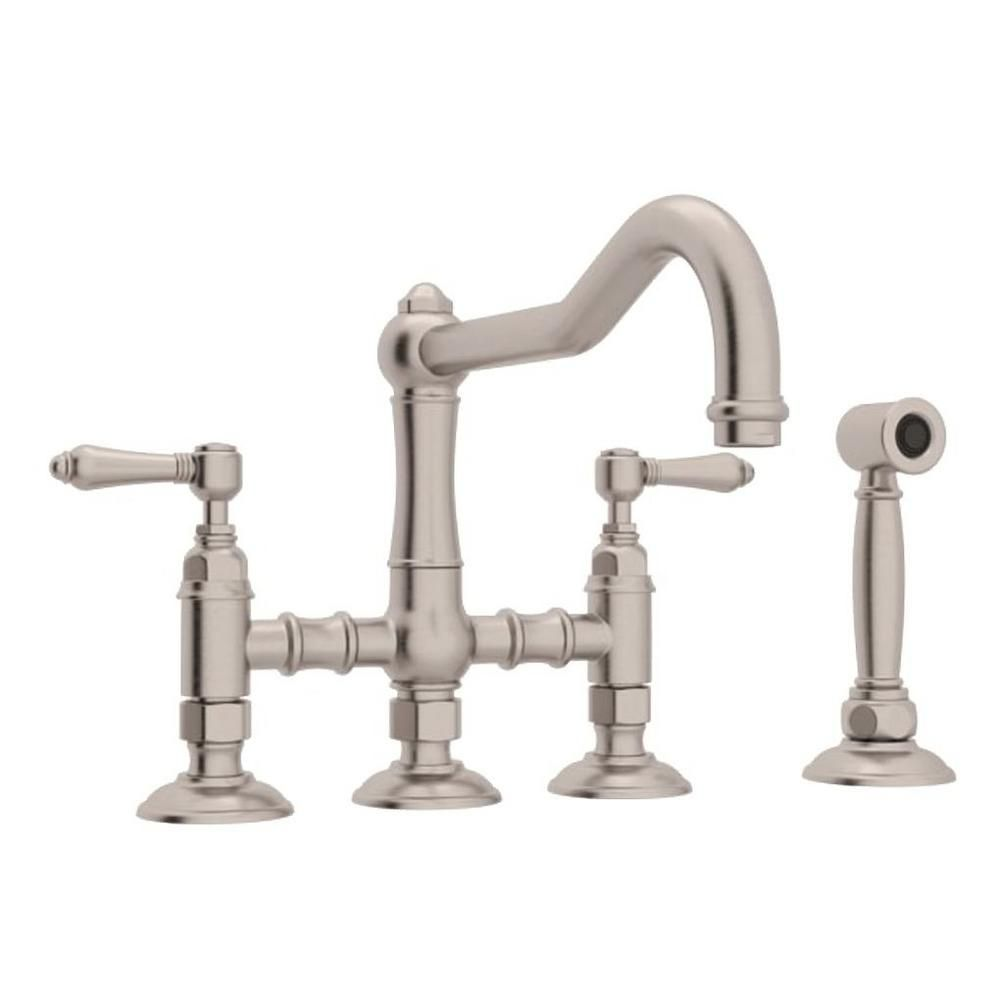 Rohl Country Kitchen 2 Handle Bridge Kitchen Faucet With Side