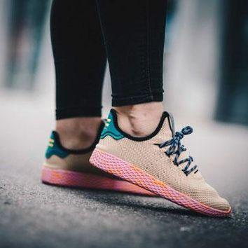130 Adidas Men S Tennis Hu Primeknit Sneakers Sold By Barneys New York Affiliate Constructed Of Beige Primeknit Adidas Or Sneakers Fresh Shoes Adidas Men