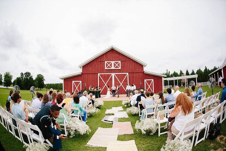 Outdoor Wedding In Front Of Red Grand Barn Alice And Ben Georgia Wedding At Twin Oaks Farm Georgia Wedding Barn Wedding Outdoor Wedding