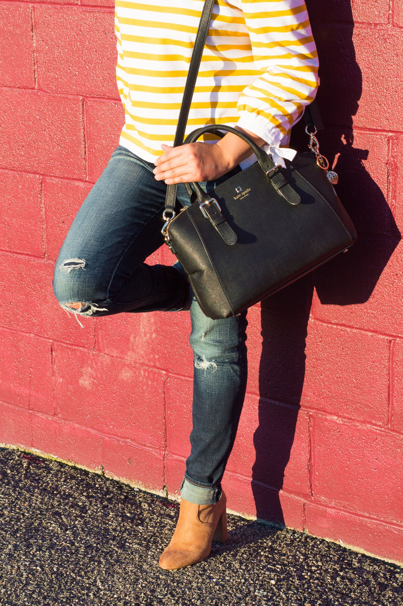 Timeless Optimist blog || ootd, fashion blogger, outfit, off the shoulder top, j crew, long sleeve, winter, spring, spring fashion, winter fashion, jeans, with jeans, dressy, with chocker, yellow, petite fashion, classy, preppy, pretty, latina blogger, latina, 2017, suede boots, steve madden
