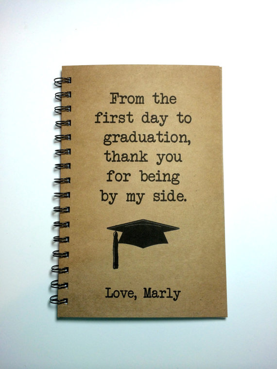 Graduation Gift, To Parents, Graduation Notebook, To Mom, To Dad - thank you for graduation
