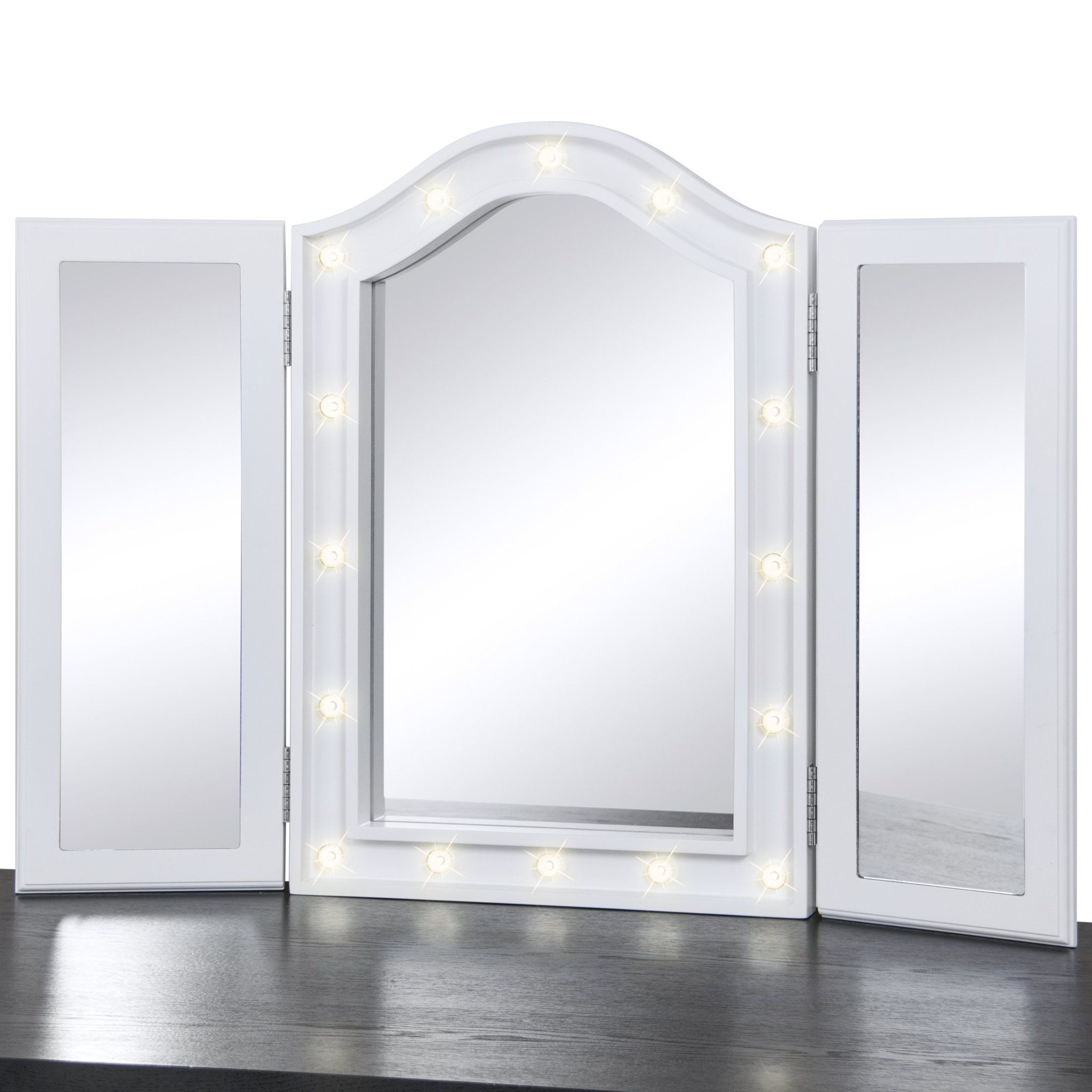 Tri Fold Vanity Mirror With Lights Lit Tabletop Trifold Vanity Mirror W Led Lights  White  Tri Fold