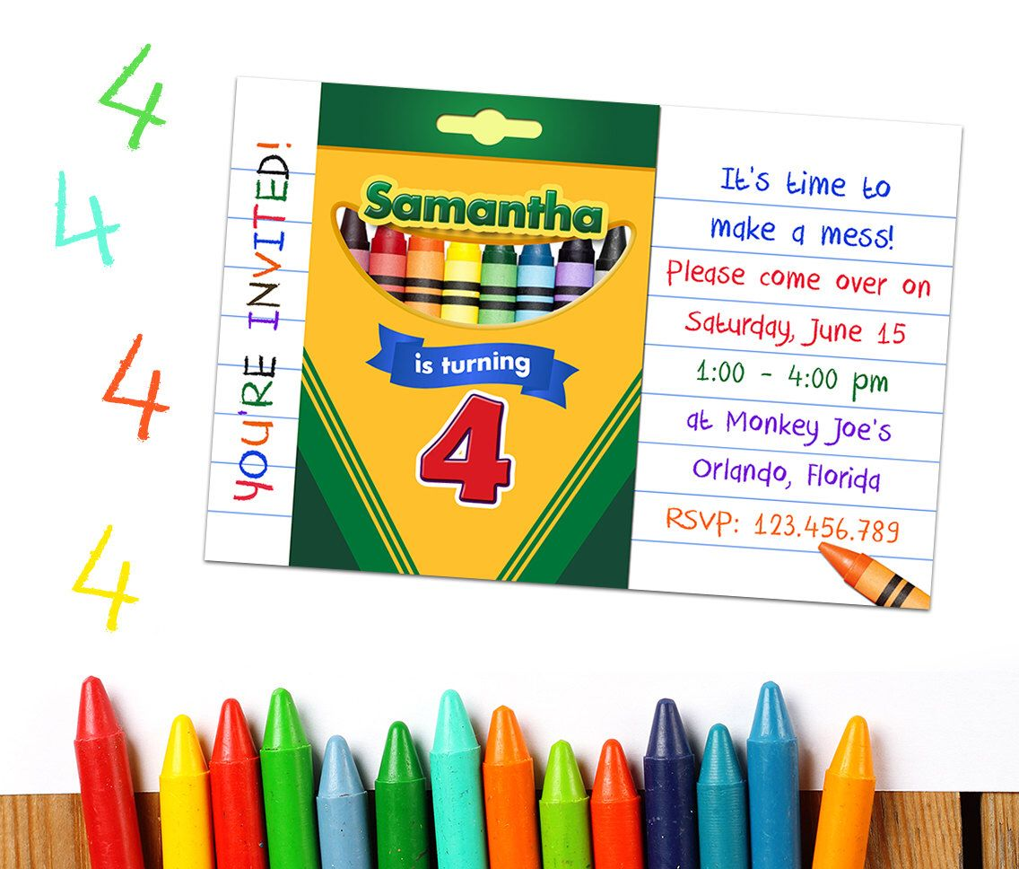 Crayon Party Invitations: Crayon Party Printable, Crayon Birthday ...